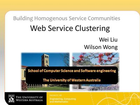 Web Service Clustering Building Homogenous Service Communities Wei Liu Wilson Wong.