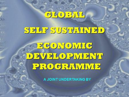 GLOBAL SELF SUSTAINED ECONOMIC DEVELOPMENT PROGRAMME A JOINT UNDERTAKING BY.