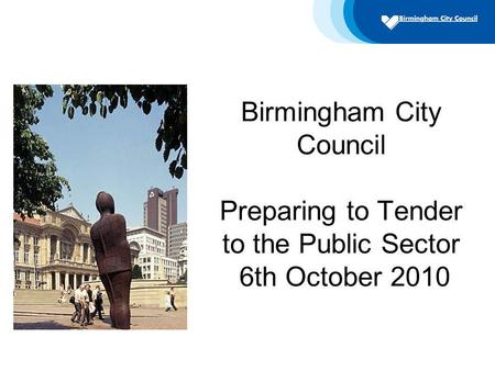 Birmingham City Council Preparing to Tender to the Public Sector 6th October 2010.