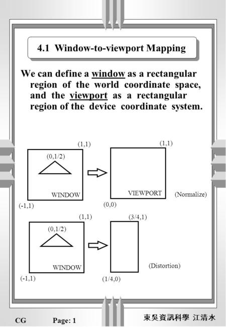 CGPage: 1 We can define a window as a rectangular region of the world coordinate space, and the viewport as a rectangular region of the device coordinate.