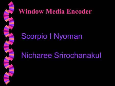Window Media Encoder Scorpio I Nyoman Nicharee Srirochanakul.