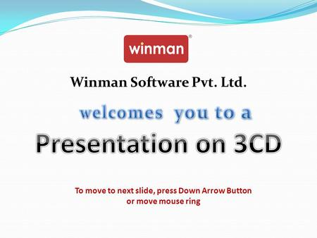 Presentation on 3CD welcomes you to a Winman Software Pvt. Ltd.