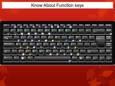 Know About Function keys. F1 key Almost always F1 is used as the help key, almost every program will open the help screen when this key is pressed. Microsoft.