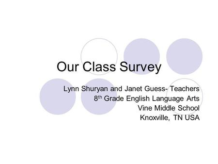 Our Class Survey Lynn Shuryan and Janet Guess- Teachers 8 th Grade English Language Arts Vine Middle School Knoxville, TN USA.