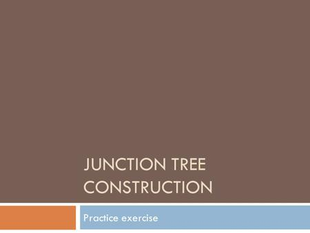JUNCTION TREE CONSTRUCTION Practice exercise. Example 1: Junction Tree Construction AB D C G HF E Step1: Insert link between parents of common child 2.