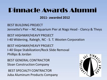 Pinnacle Awards Alumni 2011- awarded 2012 BEST BUILDING PROJECT Jennettes Pier – NC Aquarium Pier at Nags Head - Clancy & Theys BEST HIGHWAY/HEAVY PROJECT.