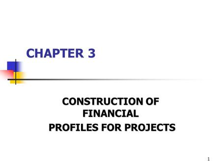 1 CHAPTER 3 CONSTRUCTION OF FINANCIAL PROFILES FOR PROJECTS PROFILES FOR PROJECTS.