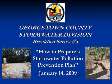 GEORGETOWN COUNTY STORMWATER DIVISION Breakfast Series #3 How to Prepare a Stormwater Pollution Prevention Plan January 14, 2009.