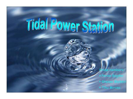 Tidal Power Station Group members : Perian Bogdan Ghenea Madalin