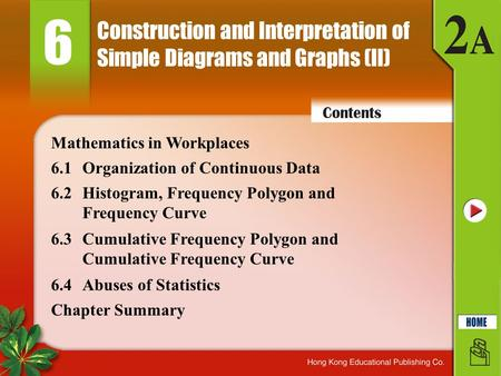Construction and Interpretation of Simple Diagrams and Graphs (II) 6 6.1Organization of Continuous Data 6.2Histogram, Frequency Polygon and Frequency Curve.