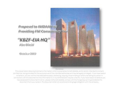 """KBZF-EIA HQ"" Proposal to IMDAAD on Providing FM Consultancy For"