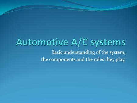 Basic understanding of the system, the components and the roles they play.