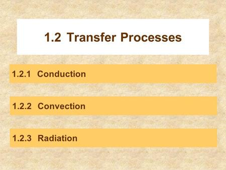 1.2 Transfer Processes Conduction Convection