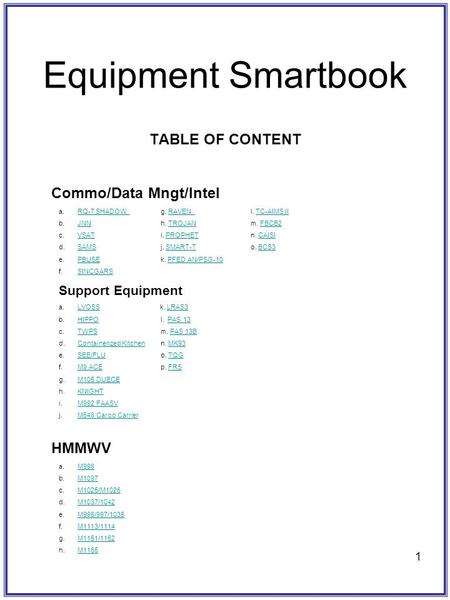 1 Equipment Smartbook TABLE OF CONTENT Commo/Data Mngt/Intel a.RQ-7 SHADOW g. RAVEN l. TC-AIMS IIRQ-7 SHADOW RAVEN TC-AIMS II b.JNNh. TROJANm. FBCB2JNNTROJANFBCB2.