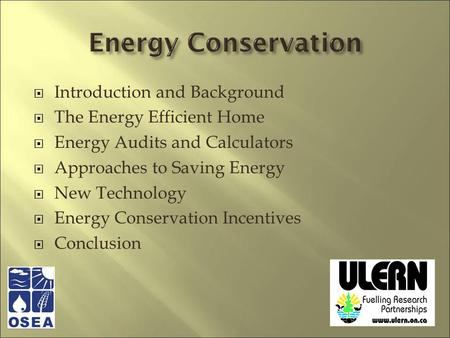 Introduction and Background The Energy Efficient Home Energy Audits and Calculators Approaches to Saving Energy New Technology Energy Conservation Incentives.