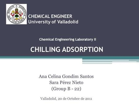 CHEMICAL ENGINEER University of Valladolid Ana Celina Gondim Santos Sara Pérez Nieto (Group B - 22) Valladolid, 20 de Octubre de 2011 Chemical Engineering.