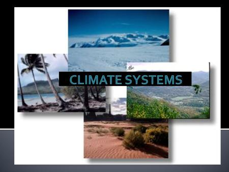 The interaction of air, land, water, ice and living things to determine Earths global climate. Climate System Air Land WaterIce Living Things.