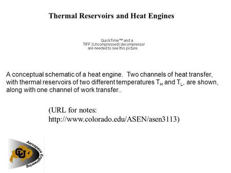 Thermal Reservoirs and Heat Engines A conceptual schematic of a heat engine. Two channels of heat transfer, with thermal reservoirs of two different temperatures.