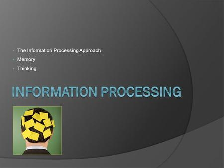 The Information Processing Approach Memory Thinking.