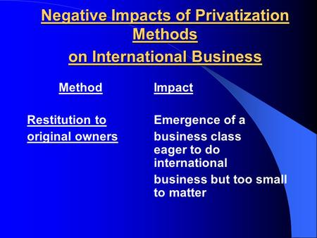 Negative Impacts of Privatization Methods on International Business MethodImpact Restitution toEmergence of a original ownersbusiness class eager to do.