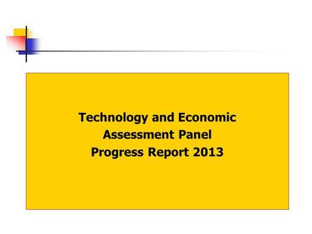 Technology and Economic Assessment Panel Progress Report 2013.