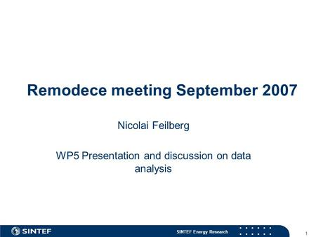 SINTEF Energy Research 1 Remodece meeting September 2007 Nicolai Feilberg WP5 Presentation and discussion on data analysis.