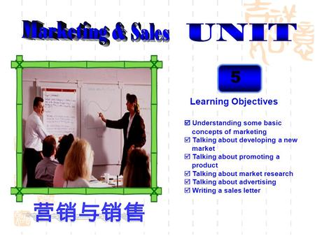 5 Learning Objectives Understanding some basic concepts of marketing Talking about developing a new market Talking about promoting a product Talking about.
