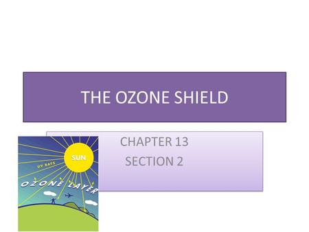 THE OZONE SHIELD CHAPTER 13 SECTION 2 CHAPTER 13 SECTION 2.