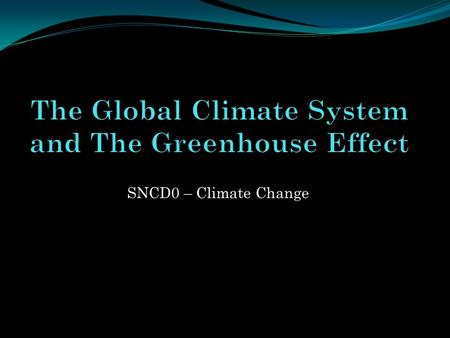 SNCD0 – Climate Change. Components of our Climate System Earths climate system is composed of four major parts that interact with one another Atmosphere.
