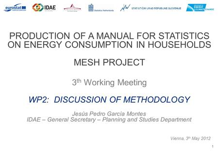 1 PRODUCTION OF A MANUAL FOR STATISTICS ON ENERGY CONSUMPTION IN HOUSEHOLDS MESH PROJECT 3 th Working Meeting Vienna, 3 th May 2012 WP2: DISCUSSION OF.