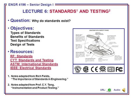 ENGR 4196 – Senior Design I Question: Why do standards exist? Objectives: Types of Standards Benefits of Standards Test Specifications Design of Tests.