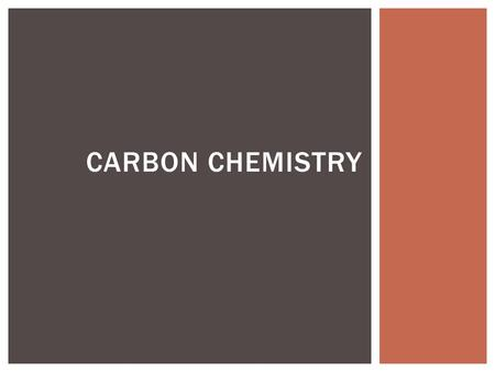 CARBON CHEMISTRY. THE BIG PICTURE CARBON COMPOUNDS Before 1828: Chemists believed compounds could only be divided two ways, into compounds they produced.