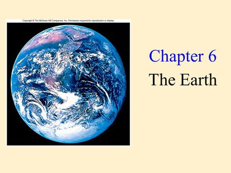 Chapter 6 The Earth. Our Earth is a very special place.