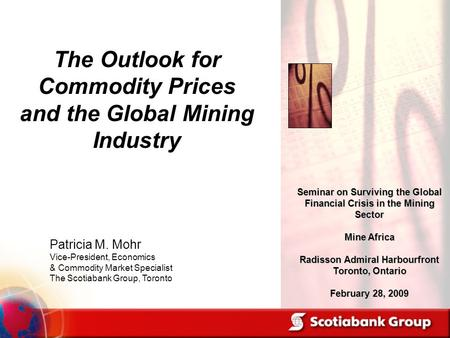 Patricia M. Mohr Vice-President, Economics & Commodity Market Specialist The Scotiabank Group, Toronto Seminar on Surviving the Global Financial Crisis.