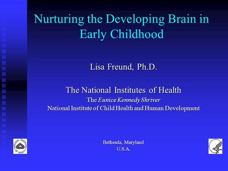 Nurturing the Developing Brain in Early Childhood Lisa Freund, Ph.D. The National Institutes of Health The Eunice Kennedy Shriver National Institute of.