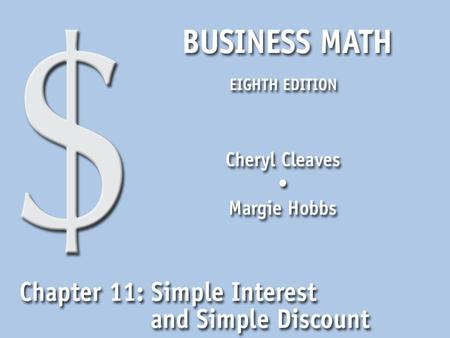 11.1 The Simple Interest Formula