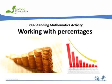 © Nuffield Foundation 2012 Free-Standing Mathematics Activity Working with percentages.