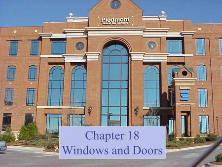 Chapter 18 Windows and Doors. Windows From an English expression meaning wind eye Window evolution Holes skins/fabrics translucent membranes glass multiple.