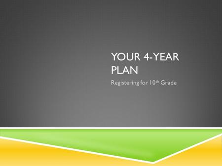 YOUR 4-YEAR PLAN Registering for 10 th Grade. TODAY IN BDB Fill out a SMALL portion of your Individual Graduation Plan Do not move ahead of your teacher.
