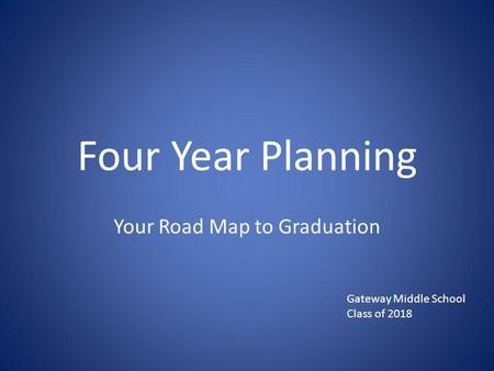 Four Year Planning Your Road Map to Graduation Gateway Middle School Class of 2018.