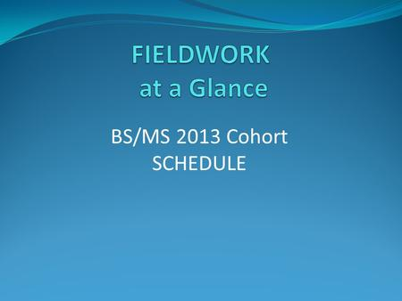 BS/MS 2013 Cohort SCHEDULE. BS/MS FIELDWORK AT A GLANCE Year One Fall 2013 Introduction to FW: November 12 TH, 4-5 p.m. in ES 116 Spring 2014 Individual.