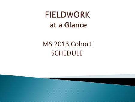 MS 2013 Cohort SCHEDULE. Fall 2013 Introduction to Fieldwork meeting Fieldwork Cohort Meeting: October 9 th, 9-10 a.m. 1:1 Meetings with Ms. Bentley Spring.