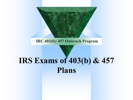 IRS Exams of 403(b) & 457 Plans.
