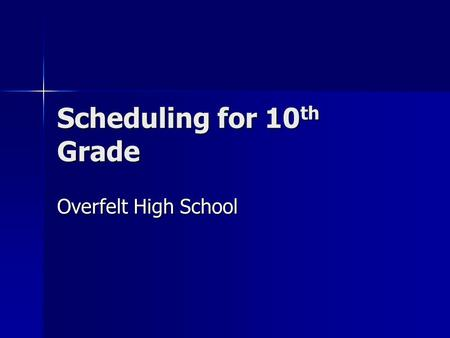 Scheduling for 10 th Grade Overfelt High School. Graduation Requirements Pass CAHSEE Exam Pass CAHSEE Exam Complete 220 credits in required areas Complete.