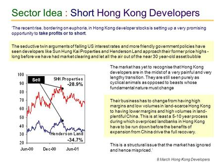 Sector Idea : Short Hong Kong Developers The market has yet to recognise that Hong Kong developers are in the midst of a very painful and very lengthy.