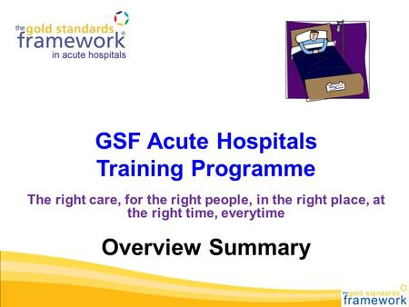 GSF Acute Hospitals Training Programme The right care, for the right people, in the right place, at the right time, everytime Overview Summary.