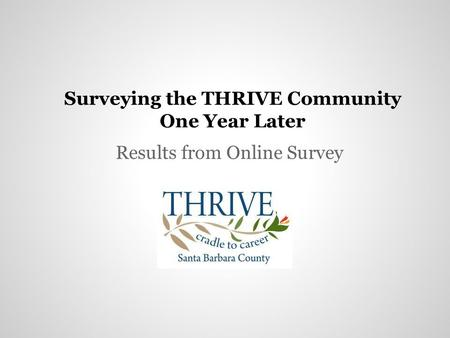 Surveying the THRIVE Community One Year Later Results from Online Survey.