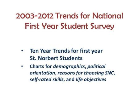 2003-2012 Trends for National First Year Student Survey Ten Year Trends for first year St. Norbert Students Charts for demographics, political orientation,