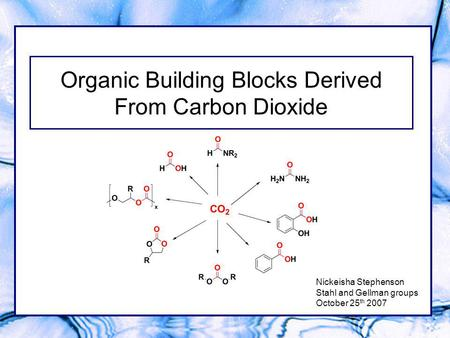 Organic Building Blocks Derived From Carbon Dioxide Nickeisha Stephenson Stahl and Gellman groups October 25 th 2007.
