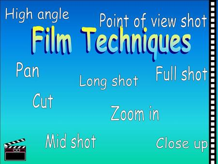 High angle Point of view shot Film Techniques Pan Full shot Long shot